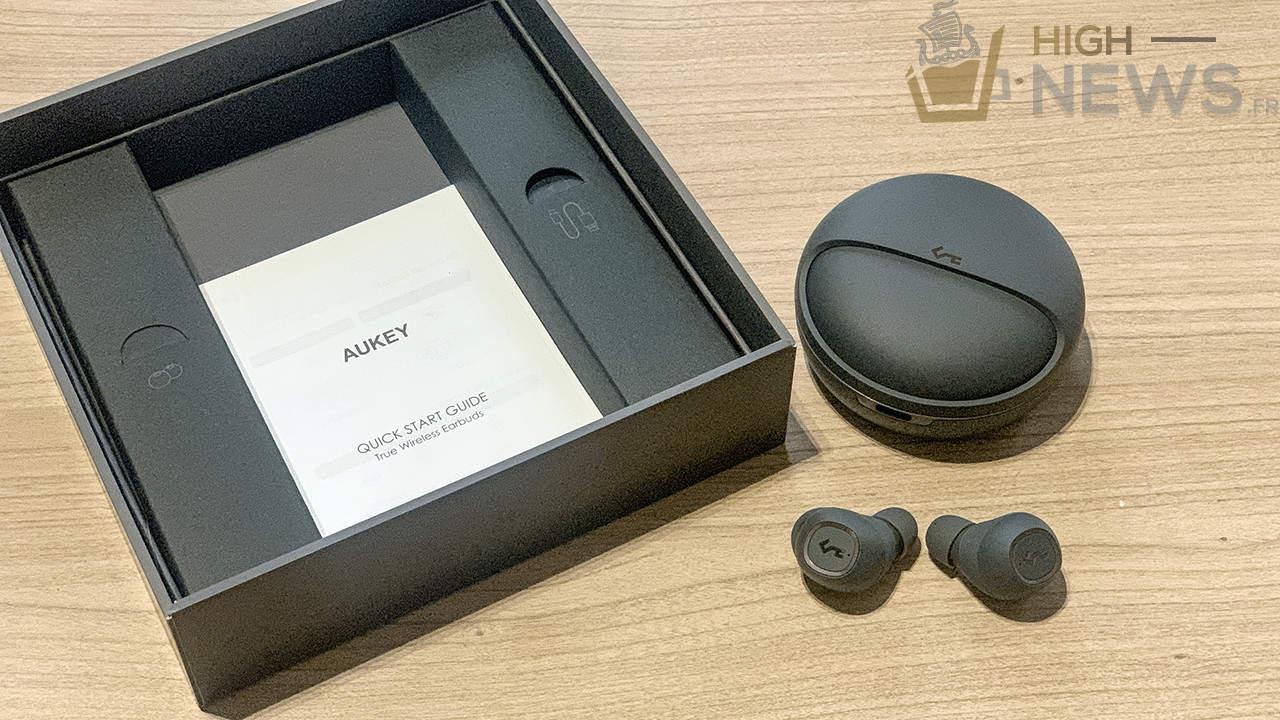 Image - Écouteurs sans fil Aukey True Bluetooth 5 avec étui de chargement 24h Playtime