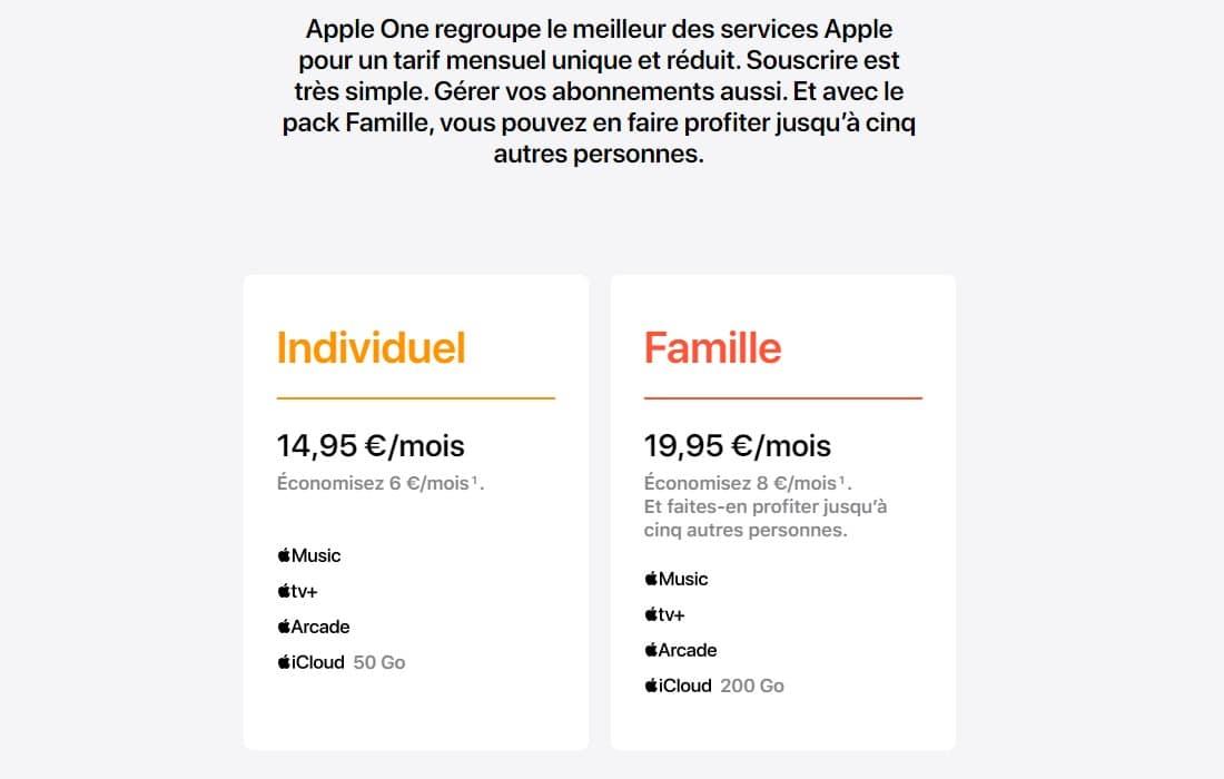 Formule abonnement Apple One