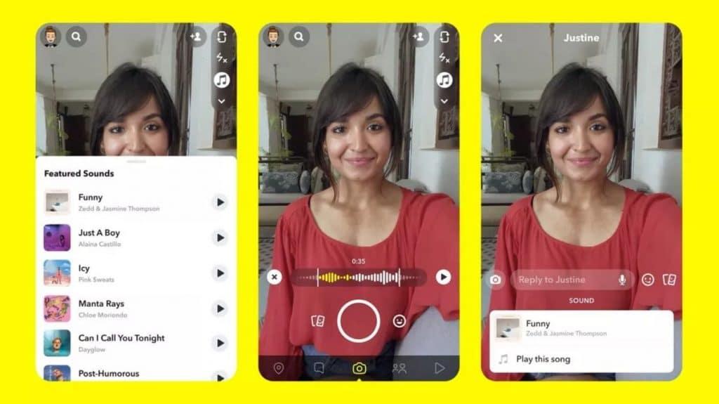 Snapchat videos courtes musique Sounds
