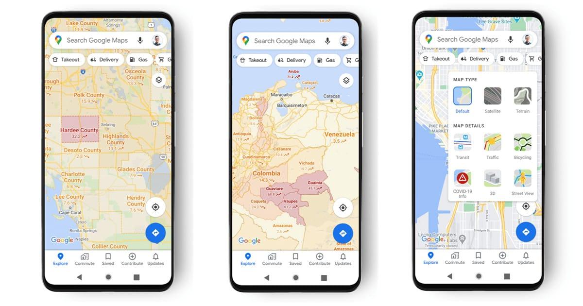 calque info Covid-19 Google Maps
