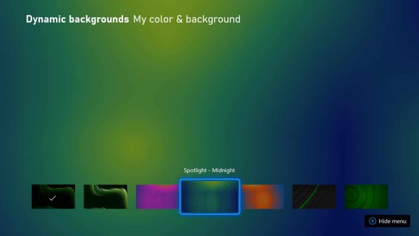 Fonds d'écrans dynamiques de la première mise à jour Xbox Series