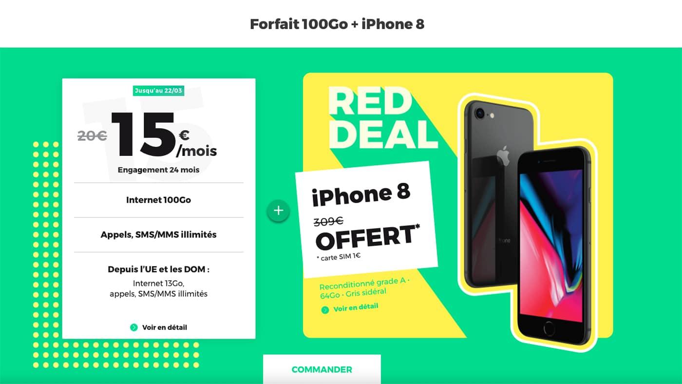 Le Red Deal de Red by SFR vous permet d'avoir un forfait mobile 100 Go avec un iPhone 8 offert.