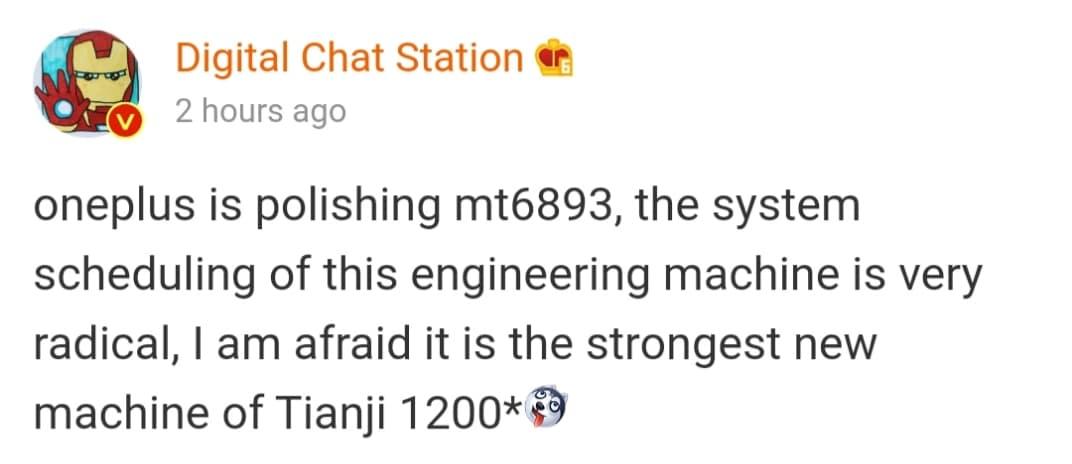 Digital Chat Station sur Weibo affirme que le futur smartphone de OnePlus aurait un Dimensity 1200.