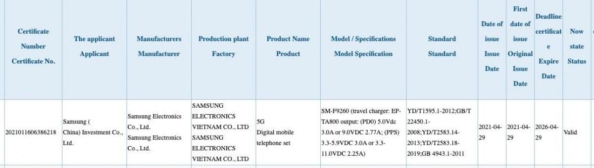 LA certification 3C concernant le Samsung Galaxy Z Fold 3.