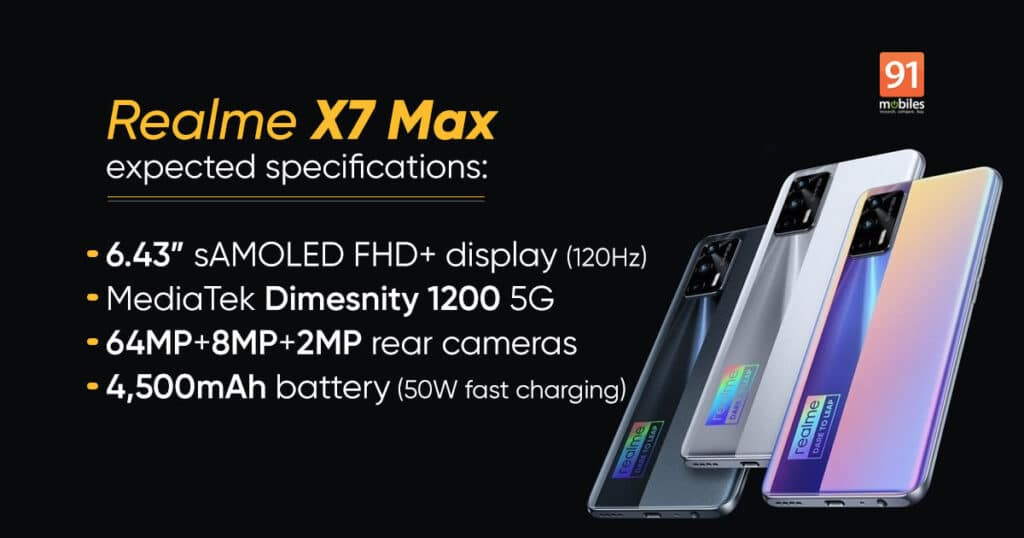 Les caractéristiques du Realme X7 Max 5G.
