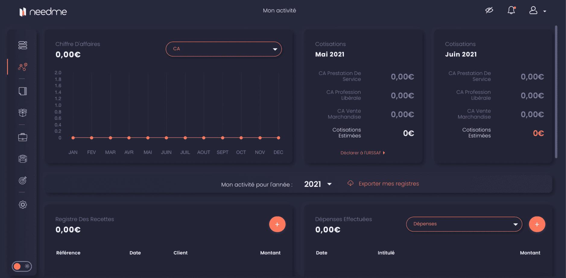 L'interface Mon activité de NeedMe.