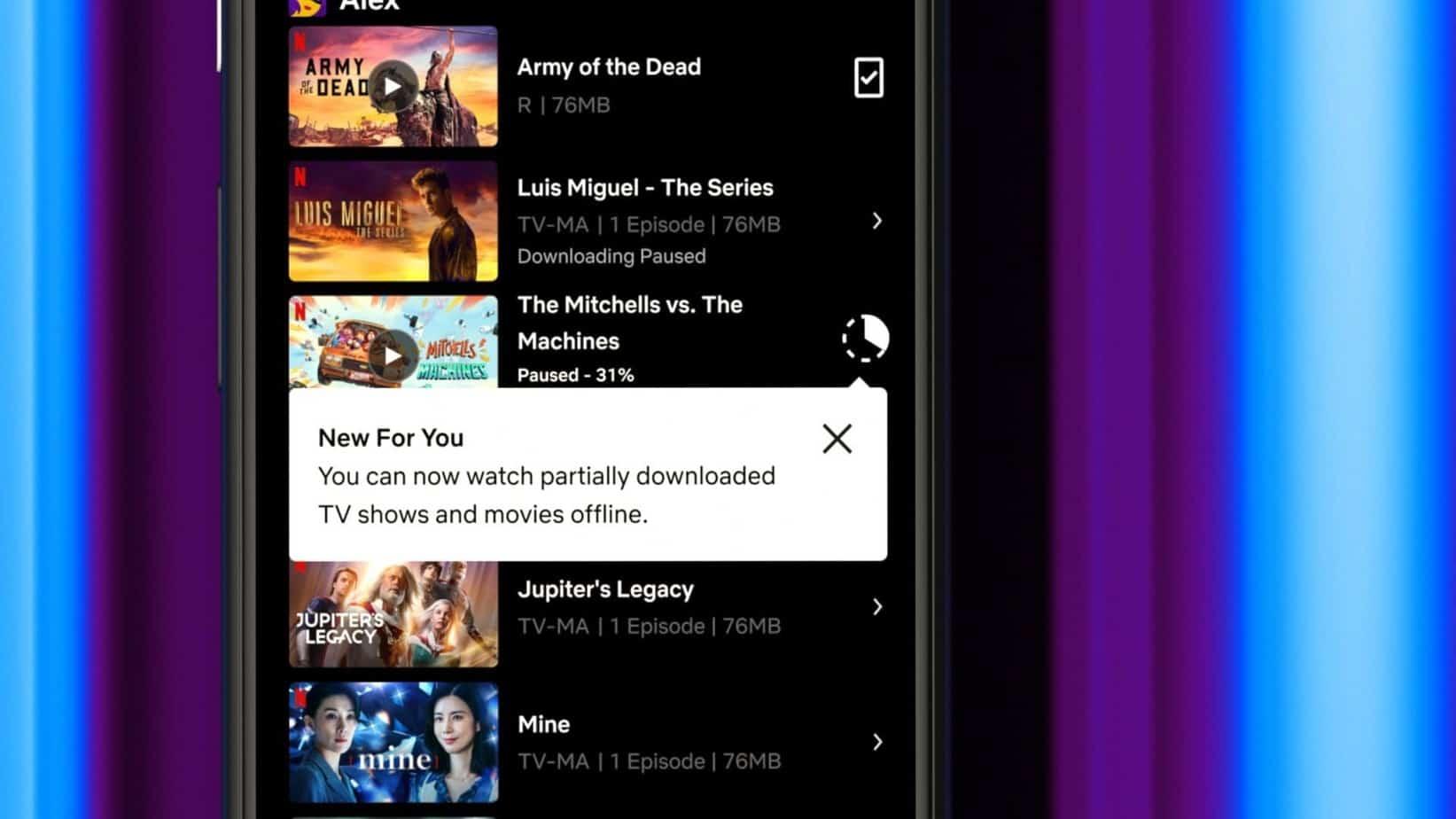 Netflix permet maintenant de regarder un téléchargement meme quand celui-ci n'est pas terminé