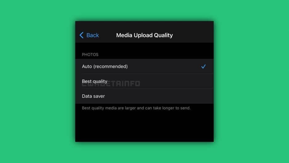 Il est possible de sélectionner la force de compression des images dans le bêta de WhatsApp sur iOS.
