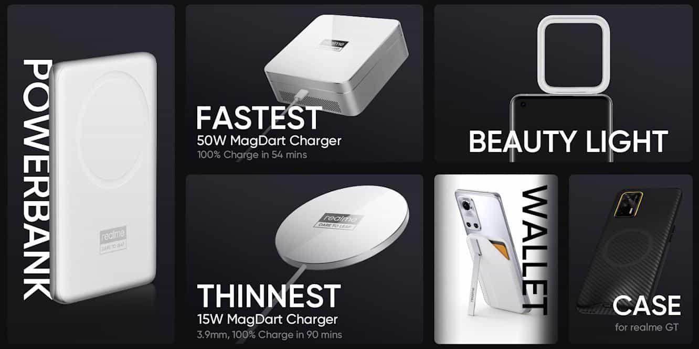 Les différents accessoires commercialisés par Realme.