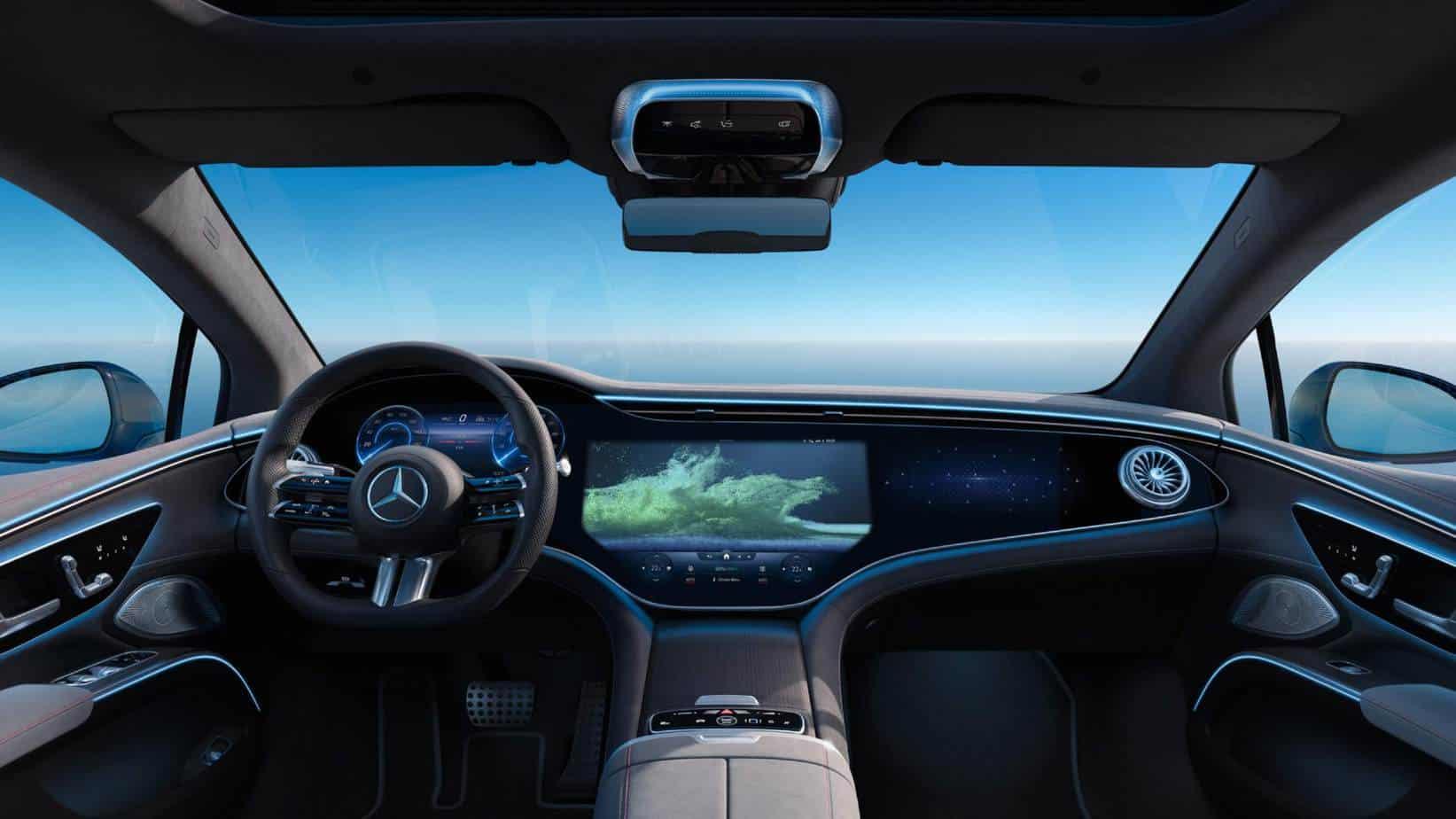 L'intérieur de la Mercedes-Benz EQS 450+ avec l'option d'écran large.
