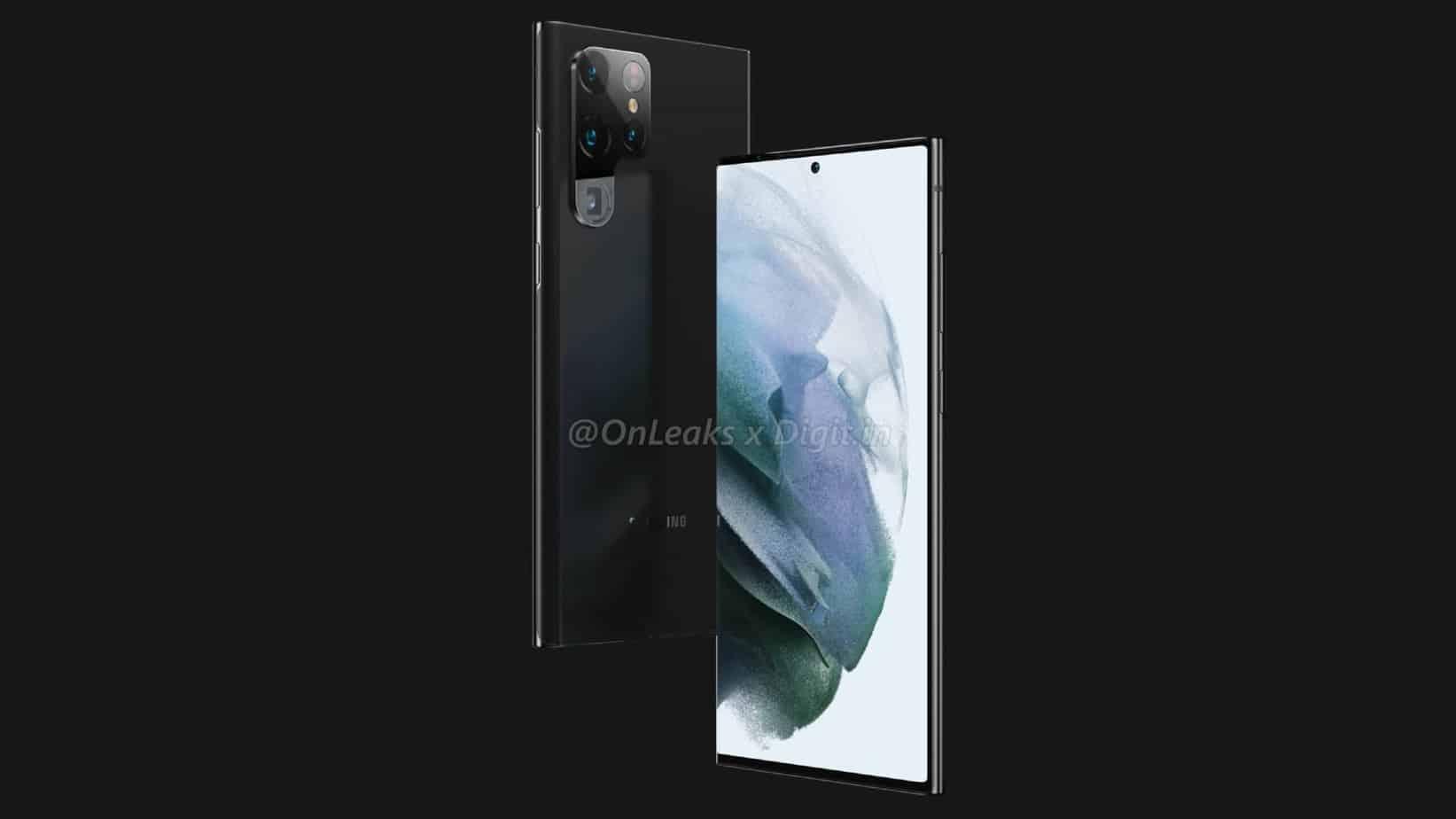 Selon les pronostics de Onleaks, le Galaxy S22 Ultra reprendrait le design du Galaxy Note.
